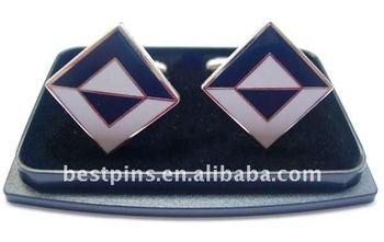 square shape metal base fashion cuff links