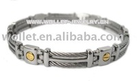 Stainless Steel bracelet with Black Rubber and Plating Screw