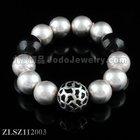 Zinc alloy round ball beaded bracelet and adjustment bangle