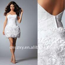 2012 Hot sell High quality Strapless Short Mini Skirt Taffeta Tulle Flower Skirt Bare Back Popular Wedding Dresses 11709
