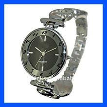 Unisex silvery big round face bracelet watch