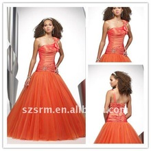 New style A-line best selling ball gown ruffle junior high peacock prom dress
