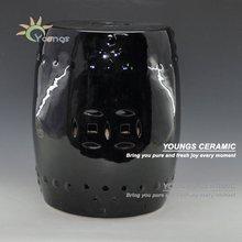 Oriental Ceramic Porcelain Round Black Stool