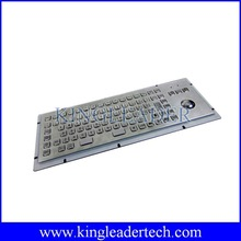 Rugged vandalproof metal kiosk keyboard with function keys and trackball