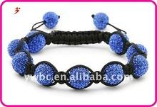 12mm Blue Crystal Disco Ball Shamballa Bracelet(B400508)