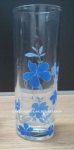 300ml long drink glass with flower print(2011 hot)