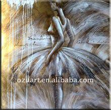 Superb Gold foil Oil Painting/Dancing Girl