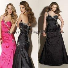 2012 one shoulder appliqued beaded taffeta floor length plus size prom dress CWFap3533