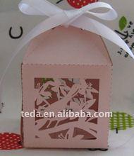Hot 2012 selling laser cut love birds wedding gift boxes ,free logo