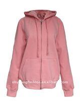 HOT Design 2012 women's pink cotton fleece plain long sleeve causal pullover hoody
