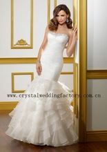 2012 beaded strapless ruched mermaid ruffled organza custom-made chapel train wedding dress CWFaw3561