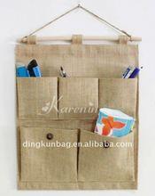 fashion eco jute wall hanging storage bag