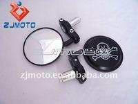 "Motorcycle Universal Black Billet Motorcycle Skull Heads Bar End Mirrors 7/8"" Chr (Street)"