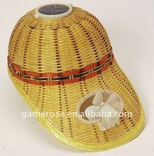 solar fan cap made from Handmade plaited bamboo