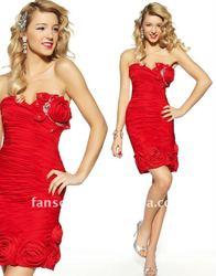 Stylish sweetheart rosettes encircling hem red chiffon cocktail dress
