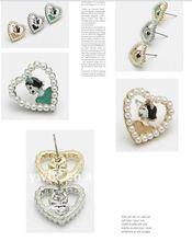 beautiful alloy girl in pearl deco heart stud earring (131072)
