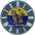gato de antigüedades y diseño de la flor decorativa de madera reloj de arte