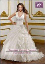 AWB0242 2012 Latest Designer Deep V Neck Bridal Wedding Gowns