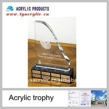 Absolutely clear acrylic shields and trophies with a base