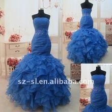 IR-4 Elengant Strapless Organza Rullfed Sexy Evening Dresses 2012