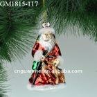 blown glass christmas hanging santa claus