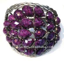 2012 Popular Vintage Purple Resin Stone Wide Bangle
