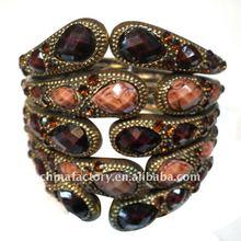 2012 Fashion Vintage brown resin stone Wide Bangle