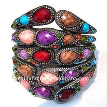2012 Fashion Vintage colorful resin stone Wide Bangle