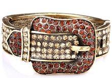 2012 Fashion Vintage topaz Crystal Belt Buckle closure Bangle
