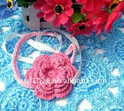 Infant crochet knit flower headband