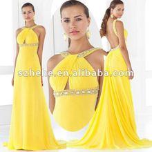 2012 Latest designs chiffon beaded girls party dresses yellow