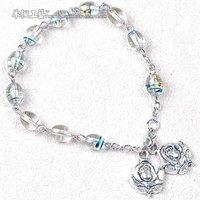Glass Rosary Bracelet with rose flower pendant
