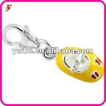 popular silver tone alloy with yellow enamel shoes charm jewlery(H100481)