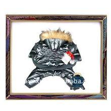 Newest dark blue PU dog jacket, dog product
