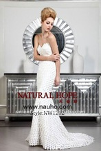 2012 new arrival Wedding dress in scales cloth and shaped by the exquisite beads at the waist,mermaid style NW1212