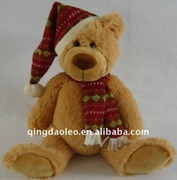 christmas stuffed brown bear with hat and scarft