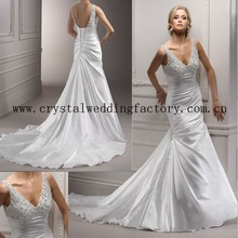 New style 2012 embroidered beaded V-neckline satin mermaid custom-made chapel train bridal dress CWFaw3725