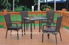 Rattan stackable chair and square table outdoor furniture