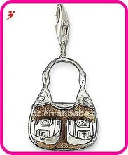 fashion silver alloy bronze double pocket purse with lobster clasp pendant jewelry(H100802)