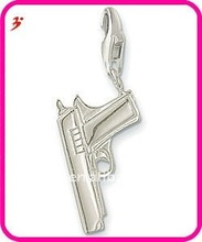 fashion silver alloy gun with lobster clasp for necklace and bracelet pendant jewerly(H100815)