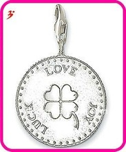 popular alloy coin with luck love and joy for necklace and bracelet pendant jewelry (H100868)