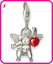 fashion alloy angel with heart charm for necklace and bracelet pendant jewelry (H100873)