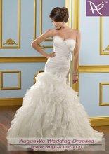 AWS-56 Mermaid Pleated Layered Organza Beaded Wedding dress