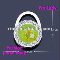 Folding crystal flower lock shape bag purse hook