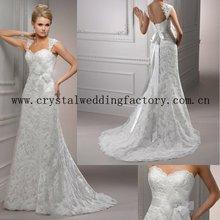 2012 vintage appliqued beaded lace custom-made chapel train bridal wedding dress CWFaw3788