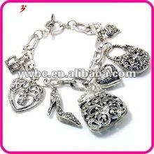 modern 2012 alloy crystal Handbag & Heart charm bracelet(B127673)