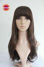 natural wave style mixed color kanekalon fiber korean artificial hair wigs with neat bangs NYSWIG-437