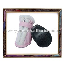 UW-PS-016 beautiful pink PU pet shoes with rubber bottom for dog