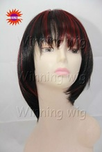 colorful Short Synthetic Wig with red highlights and bangs -8