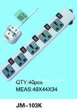 Yiwu No.1 multi socket extension cord plug socket 2 pin connector JM-103K